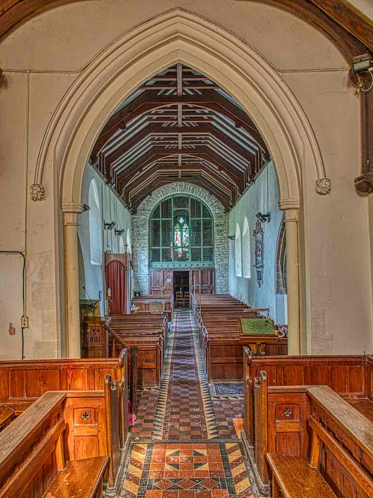 Soft browns down the nave