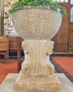 Norman Font Stone Carving PLain Romanesque Heads 12th Century Stoodleigh