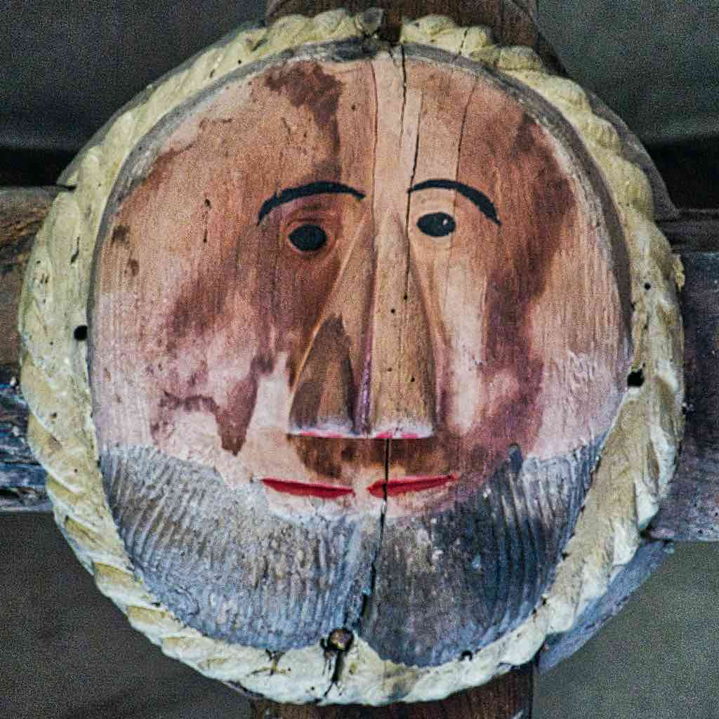 Roof Boss Wood Carving Coloured Church Double Face 16th Century Stoodleigh
