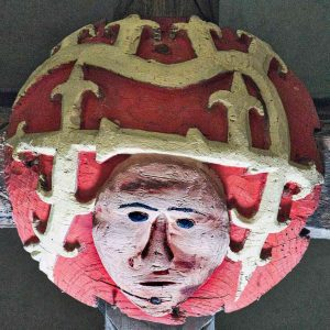 Roof Boss Wood Carving Coloured Church Face Foliage 16th Century Stoodleigh