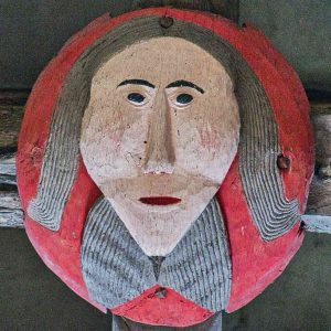 Roof Boss Wood Carving Coloured Church Face Victorian 16th Century Stoodleigh