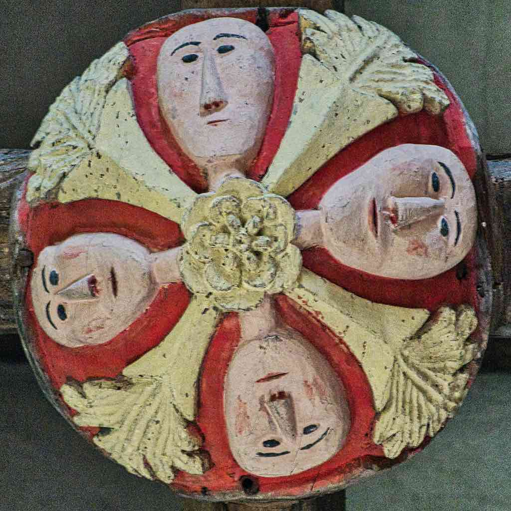 Roof Boss Wood Carving Coloured Church Four Face Foliage 16th Century Stoodleigh