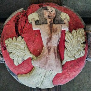Roof Boss Wood Carving Coloured Church Mermaid 16th Century Stoodleigh