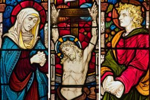 Stained Glass Crucifixion Christ Saint John Virgin Mary Victorian 19th Century West Down