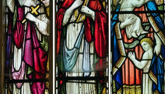 Stained Glass Faith Hope Love Victorian 19th Century West Dow