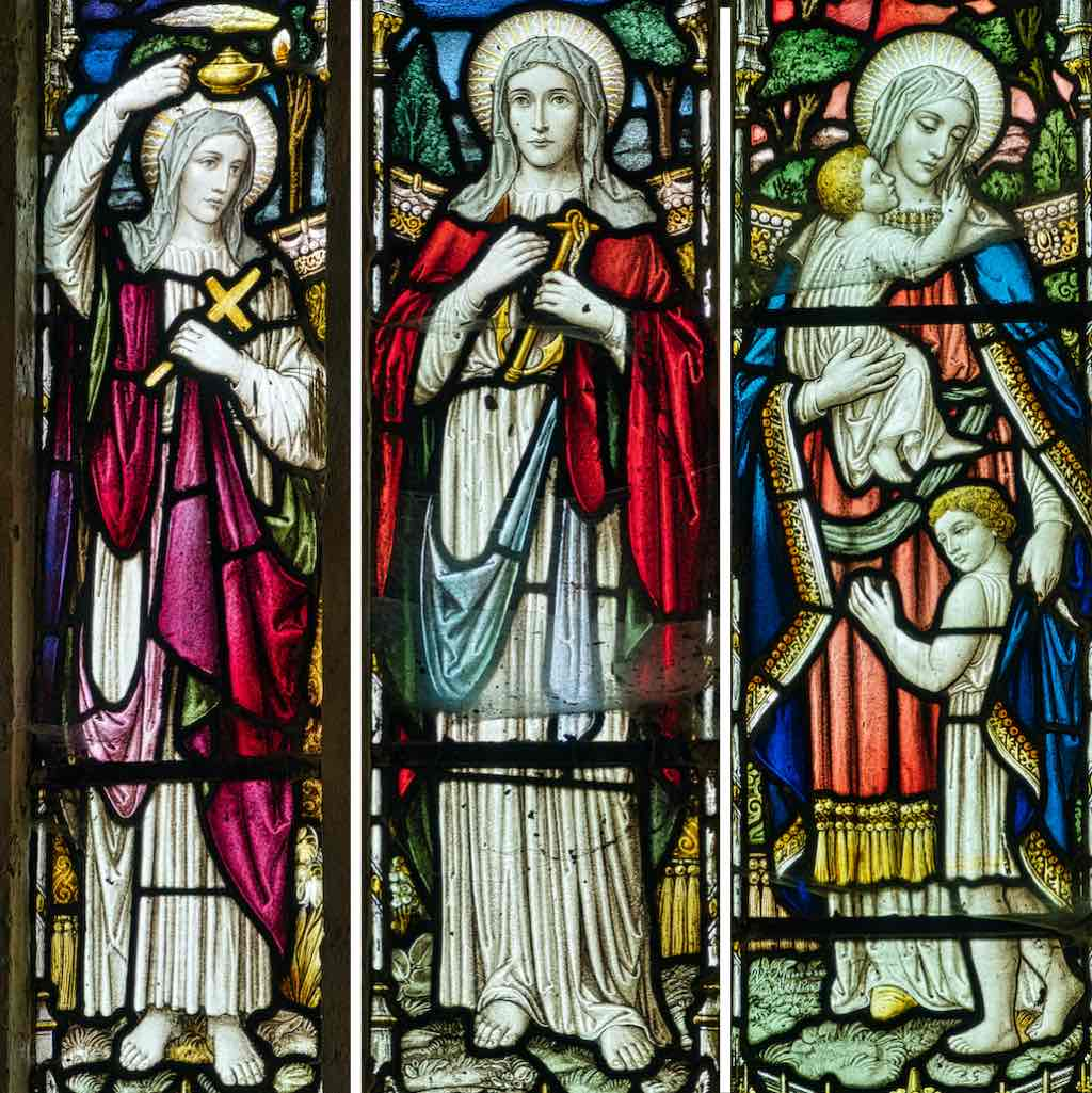 Faith, Hope and Love in Victorian stained glass