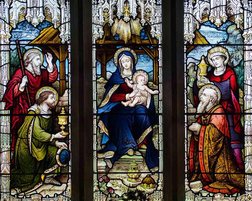 The Magi bringing gifts to the baby Jesus at Epiphany