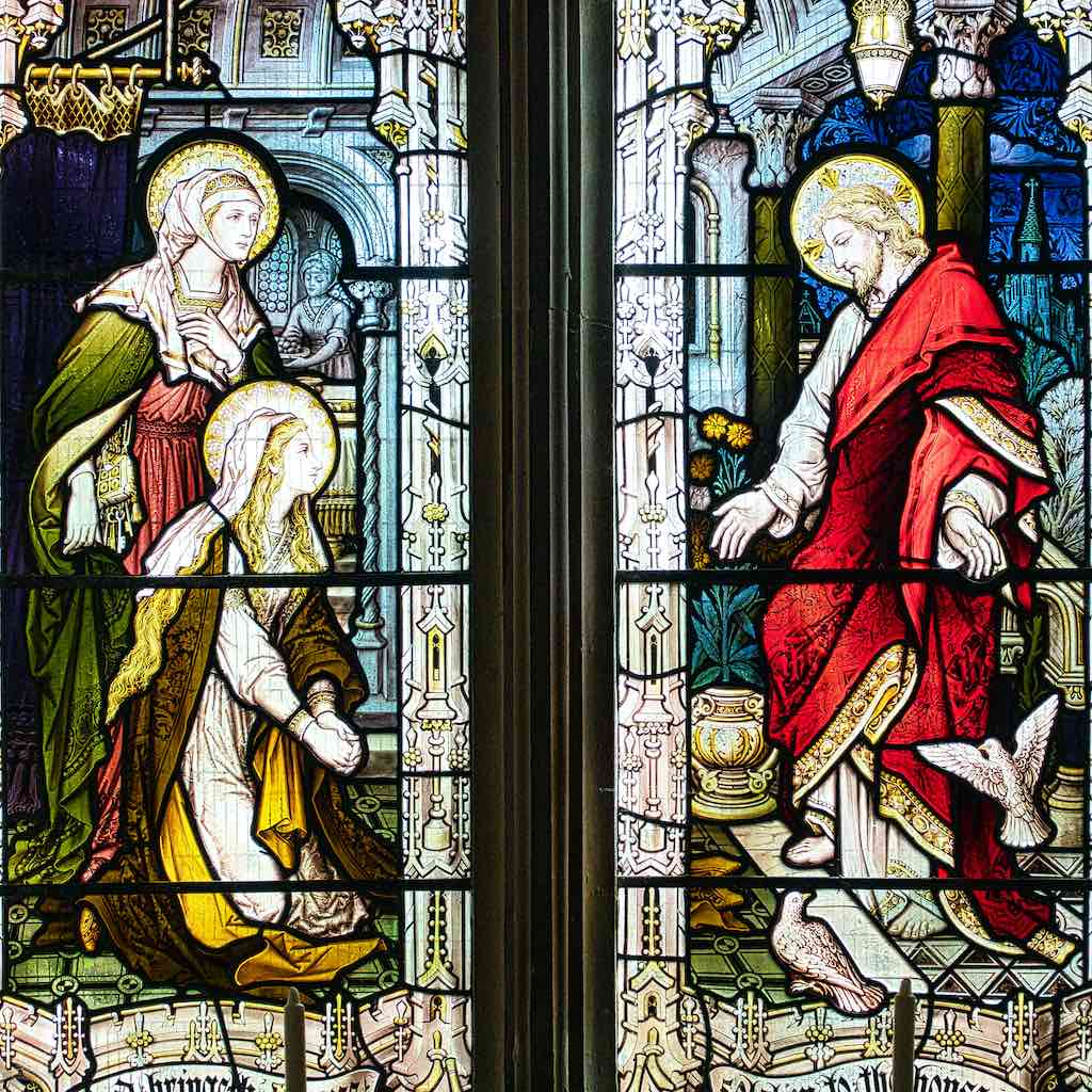 The two Marys at the tomb after Christ's resurrection by Hardman & Co.