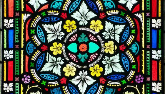 Stained Glass Pattern Foliage Colourful Victorian 19th Century Modbury
