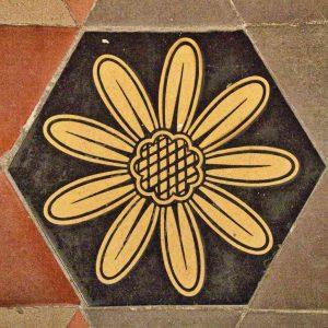 Tiles Floor Encaustic Flower Victorian 19th Century Stoodleigh