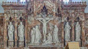 Altar Back Reredos Alabaster Crucifixion Victorian 19th Century East Allington