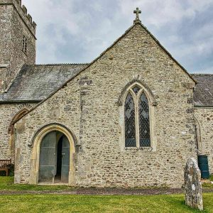Church Exterior 14th Century Medieval Flint Stonework South Transept Porch Door Widworthy