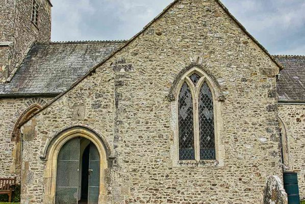 Church Exterior 14th Century Medieval Flint Stonework South Transept Porch Door Widworthy