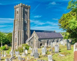 Church Exterior West Tower Graveyard 16th Century Medieval East Allington