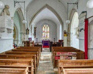Church Interior 14th Century Medieval Nave Pew Widworthy