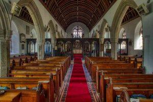 Church Interior Nave Pillar Granite Pew Arch 16th Century Medieval East Allington