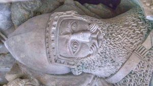 Effigy Monument Knight Sir William Prouz Face Stone Carving Plain Limestone 14th Century Medieval Widworthy