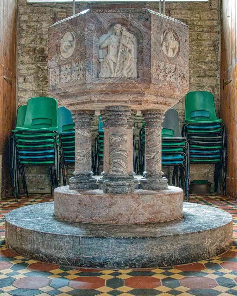 The Victorian font carved from Devon marble