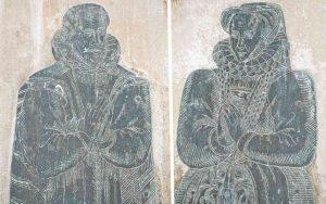Memorial Brass Metalwork Figures 16th Century East Allington