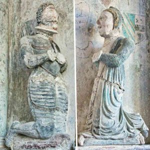 Memorial Stone Carving Coloured Figures Knight 17th Century East Allington