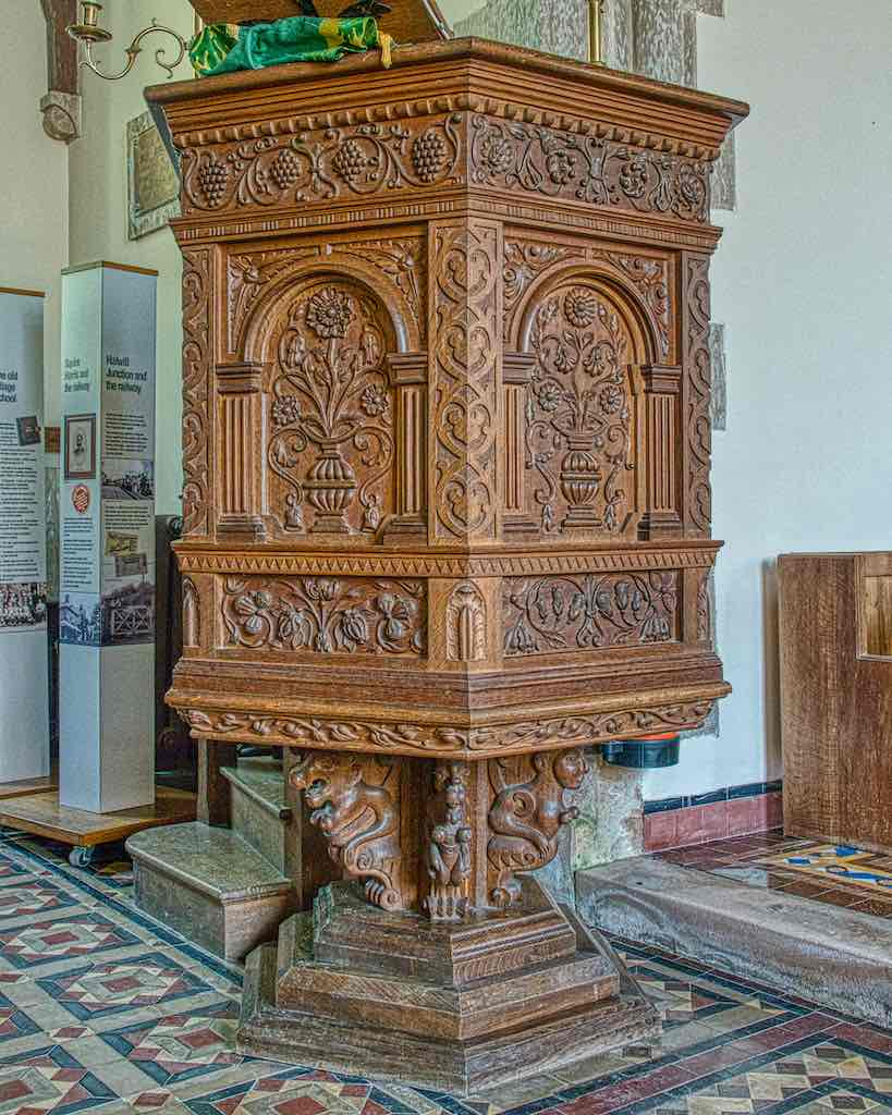The intricate pulpit was carved in 1910