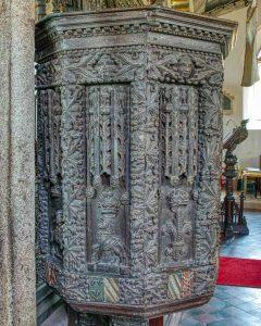 Pulpit Wood Carving Plain 16th Century East Allington