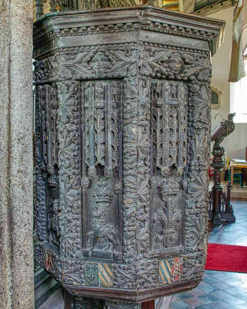 The 16th century pulpit with 17th century additions.