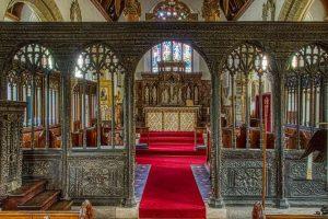 Rood Screen Wood Carving Plain 16th Century East Allington