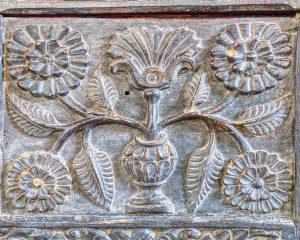 Rood Screen Wood Carving Plain Flower 17th Century East Allington
