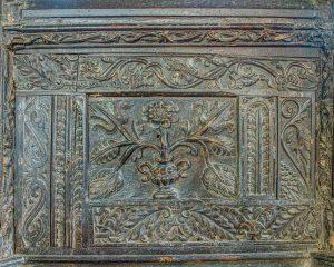 Rood Screen Wood Carving Plain Flower Foliage 17th Century East Allington