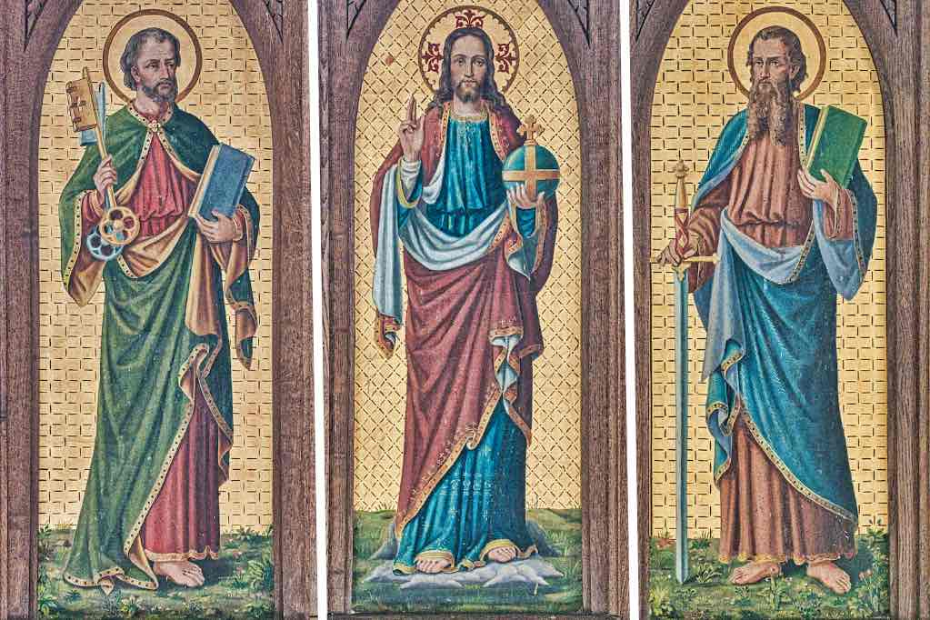 Christ with St Peter and St Paul, a charming Victorian painted altar back, or reredos