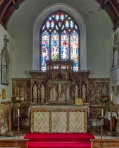 Sanctuary Altar Back Reredos Alabaster East Window Victorian 19th Century East Allington