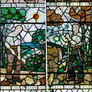 Stained Glass Covenant Window Farming Seasons 20th Century East Allington