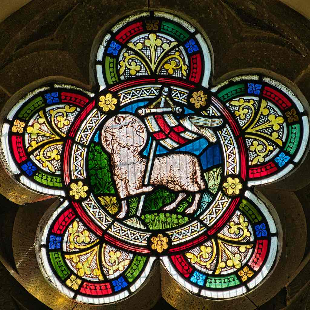 The Lamb of God in Victorian stained glass