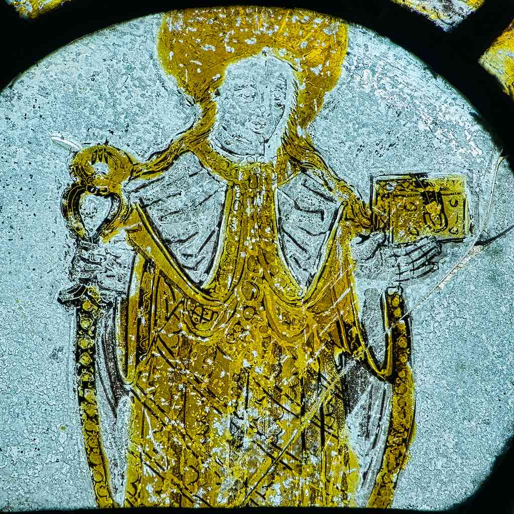 Medieval stained glass, possibly St Andrew