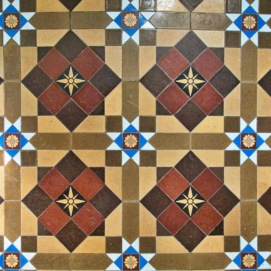 Tiles Floor Geometrical Victorian 19th Century Hawill
