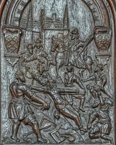 Christ Being Nailed To The Cross Flemish Wood Carving Plain 17th Century Langtree