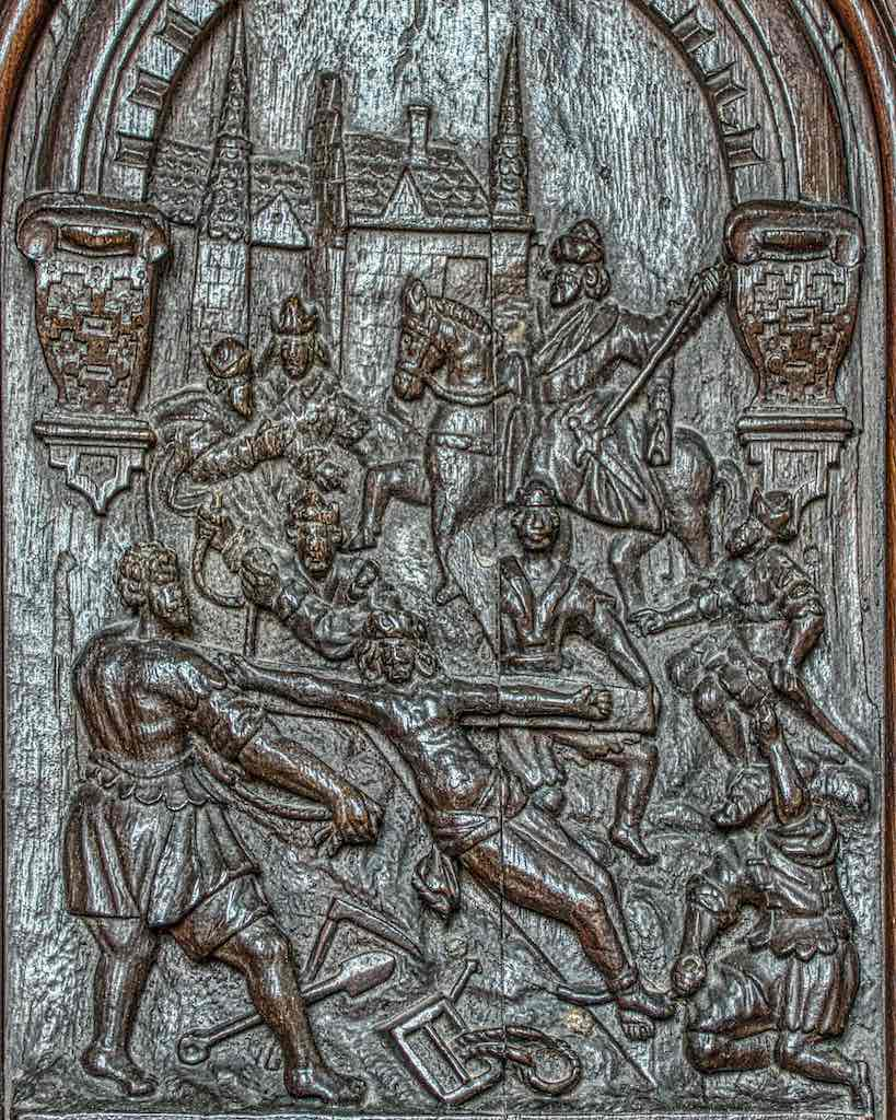 Christ being nailed to the Cross