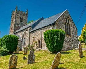 Church Exterior Granite Stonework Churchyard 15th Century Medieval Bridford