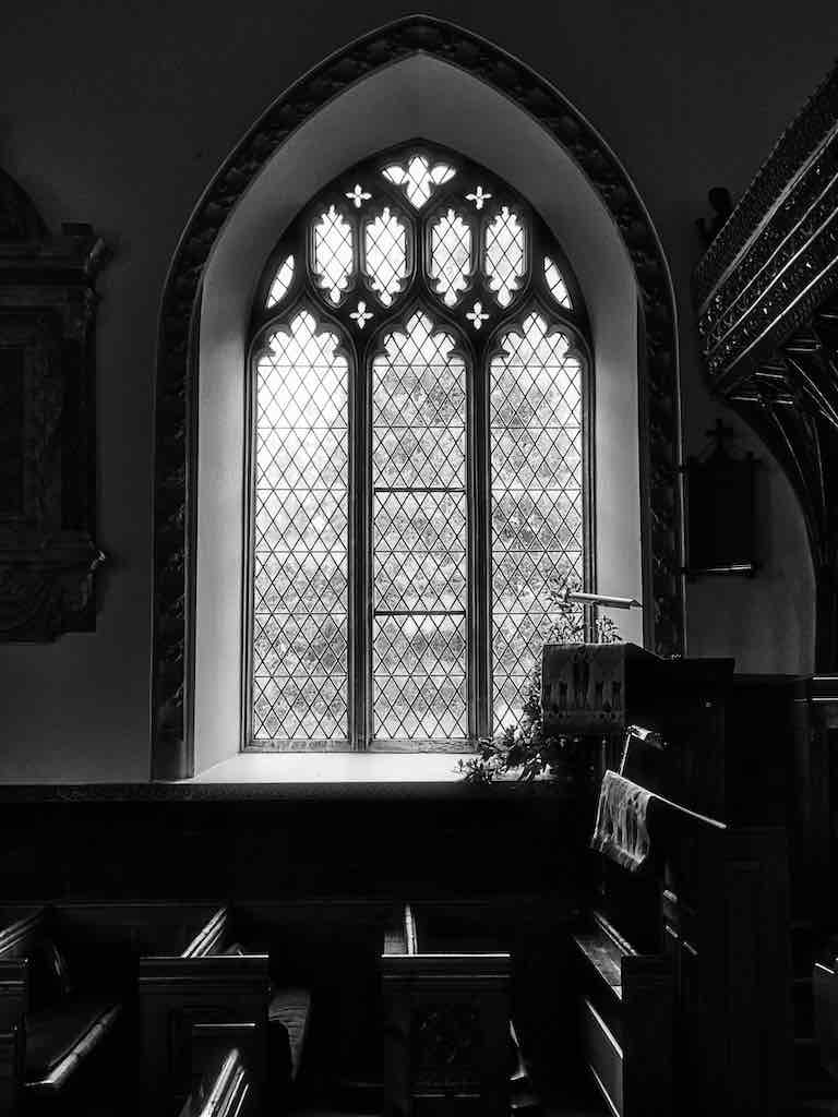 Peaceful light over the pulpit
