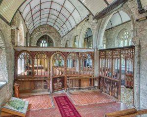 Church Interior Chancel Granite Stonework Pillar Rood Screen 16th Century Medieval Bridford