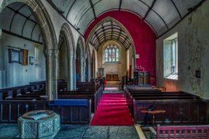 Church Interior Nave Chancel Pews Pillars Granite Medieval 15th Century Langtree