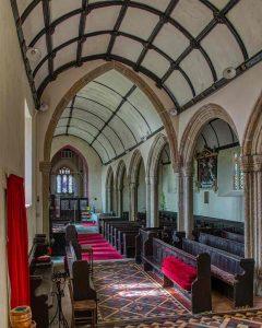 Church Interior Nave Pews Pillars Granite Medieval 15th Century Langtree