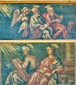 Four Evangelists Painting Wood Painted West Gallery 17th Century Kentisbeare