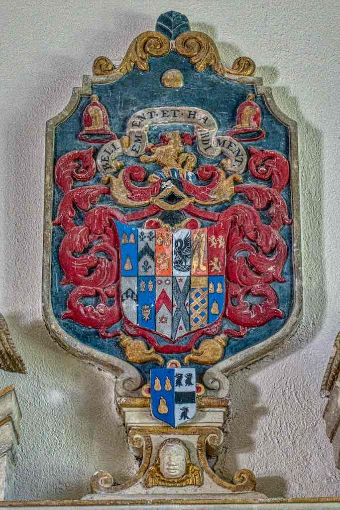 The coat of arms on top of the Stucley memorial