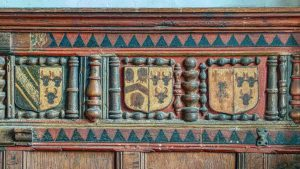 Panelling Wood Carving Coloured Coats Of Arms North Chapel Medieval 16th Century Kentisbeare