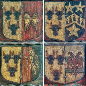 Panelling Wood Painted Coats Of Arms North Chapel Medieval 16th Century Kentisbeare