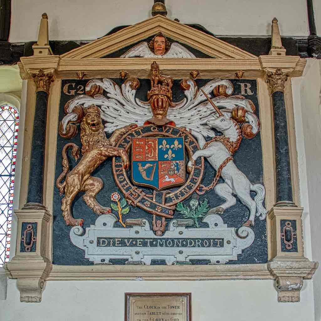A plasterwork royal coat of arms