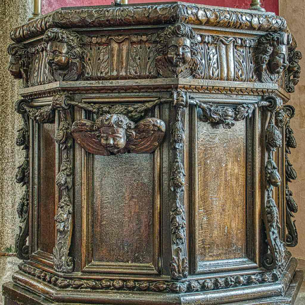 A good, locally-carved, 17th century pulpit