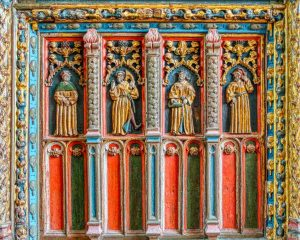 Rood Screen Wood Carving Coloured Gilding Figures Grapes Lily Gourd 16th Century Medieval Bridford